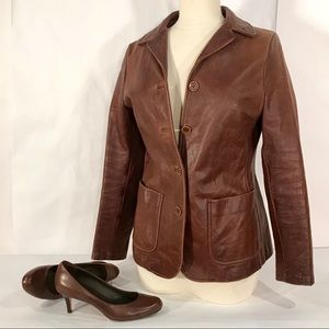 Vintage Jigsaw England Womens Brown Leather Jacket